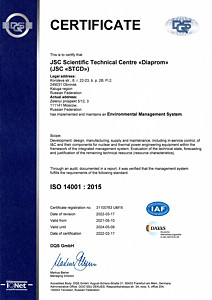 Certificate ISO 14001 : 2015